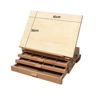"Ktaxon 16""x11"" Portable Artist Tabletop Desk Top Painting Drawing Beechwood Easel Sketch Box with 3 Storage Drawers"