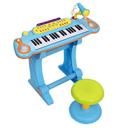 GHP 37-Key Pink ABS Plastic Kids Electronic Keyboard Piano Drums with - Plastic Piano Keyboard