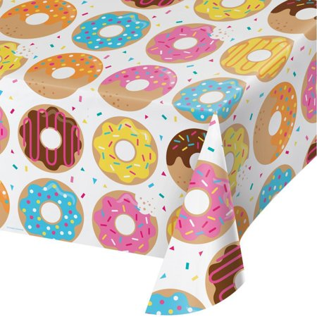 Creative Converting Donut Time Plastic Tablecover All Over Print, 54