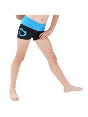 Girl's Glitter Heart Dance Foldover Yoga Shorts - X Small (4) / Ocean Blue
