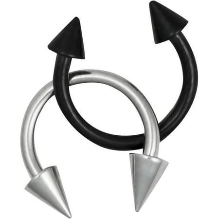 16g Septum Rings Set of 2: 16 Gauge 8mm Surgical Steel Spike Horseshoe Rings, Black & Steel