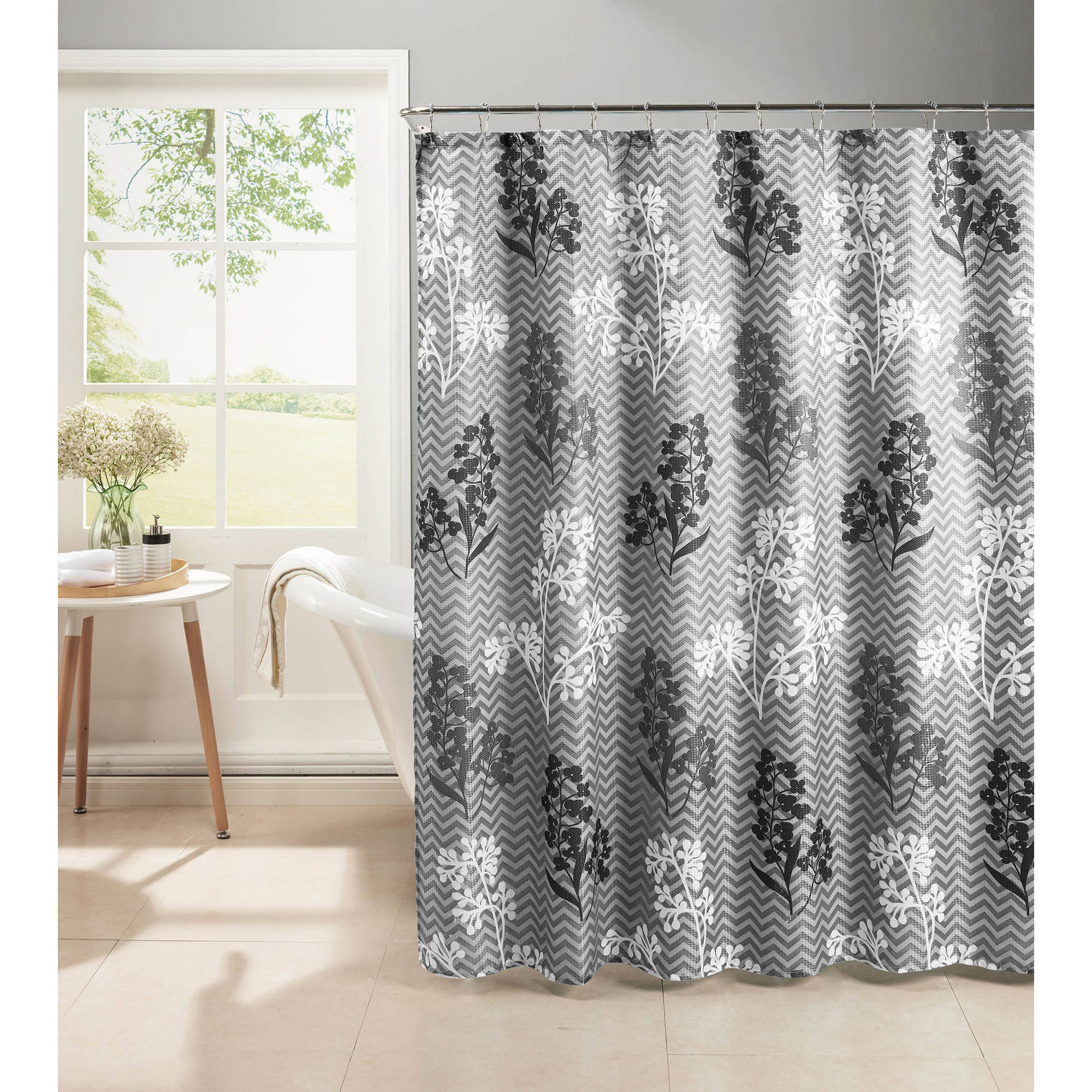 Whimsy Leaves Diamond Weave Textured Shower Curtain With Metal Roller Hooks