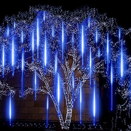 Rain Lights, LED Meteor Shower Rain Lights 19.68 inch 8 Tubes, Outdoor Waterproof Drop Icicle Snow Falling Raindrop Cascading String Lights for Party Wedding Christmas Tree Decoration (Blue)