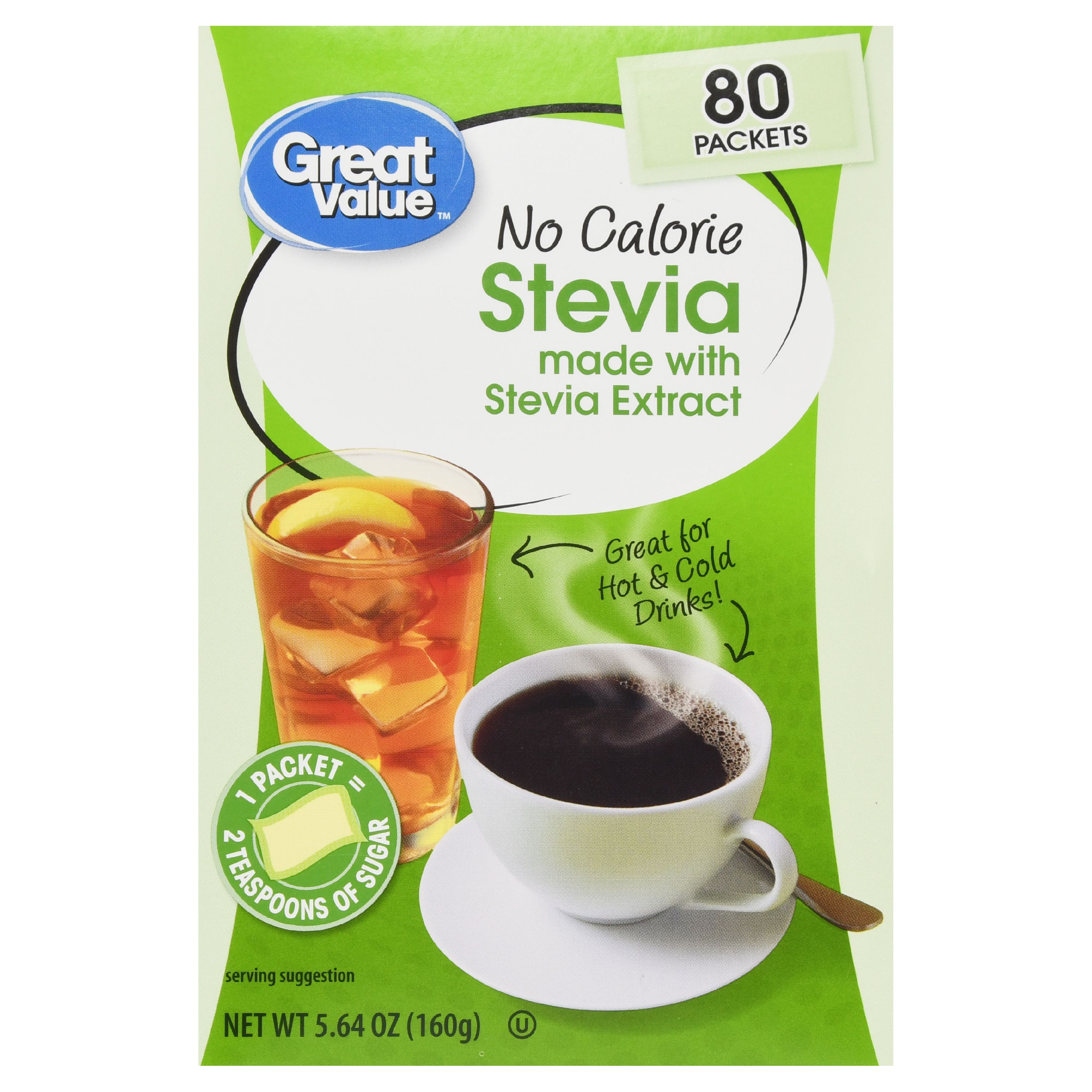 Great Value Stevia Sweetener, No Calorie, 5.64 oz, 80 Count