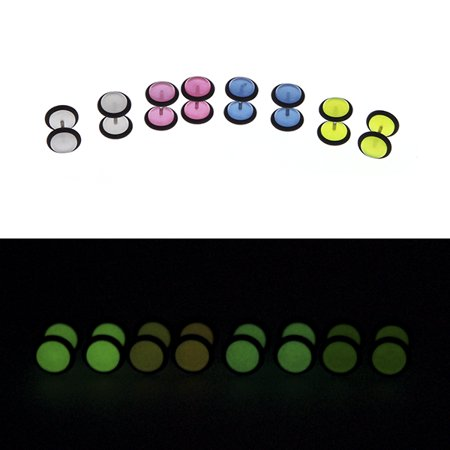 BodyJ4You Fake Plugs Glow in The Dark 16G Gauges Assorted Colors Cheater Jewelry 8 Pieces - Glow In The Dark Jewelry