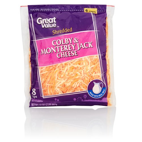 Great Value Shredded Colby & Monterey Jack Cheese, 32 oz