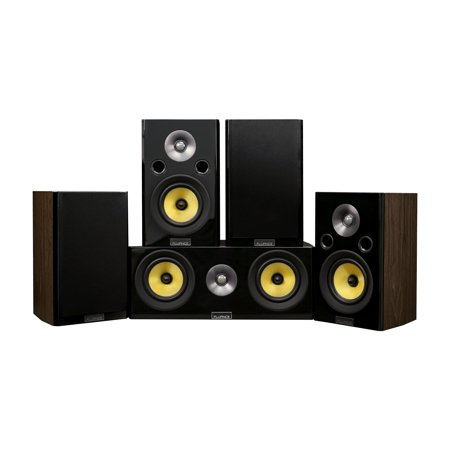 Fluance Signature Series Compact Surround Sound Home Theater 5.0 Channel Speaker System including Two-way Bookshelf, Center Channel, and Rear Surround Speakers - Walnut (HF50WC) - image 1 of 1