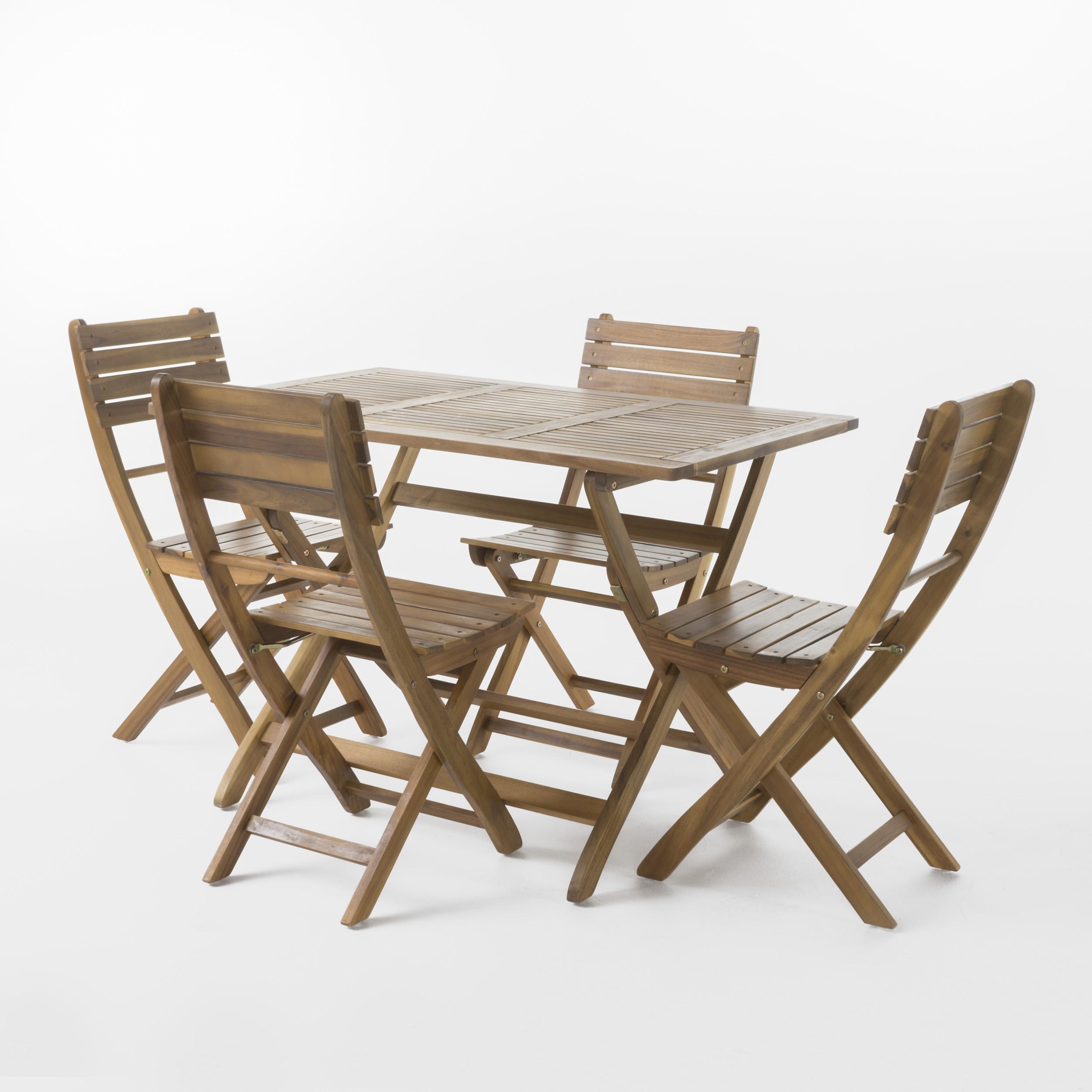 Vicaro Outdoor Acacia Wood Foldable Dining Set, Natural Finish