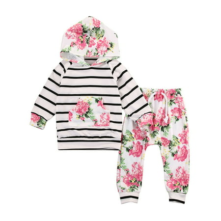 StylesILove Infant Baby Girl Floral Pattern Long Sleeve Hoodie and Pants 2 pcs Outfit (90/12-18 Months, Pink)
