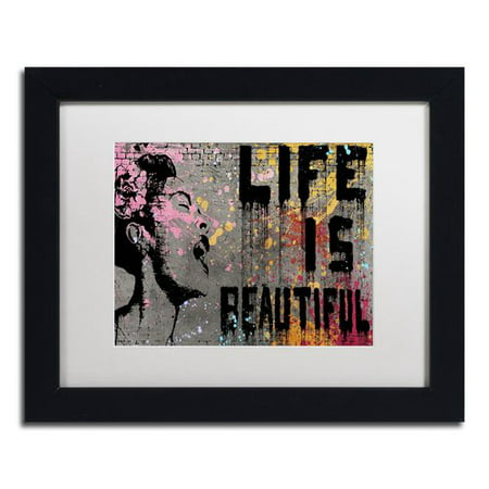 Trademark Fine Art Life Is Beautiful Canvas By Banksy White Matte Black
