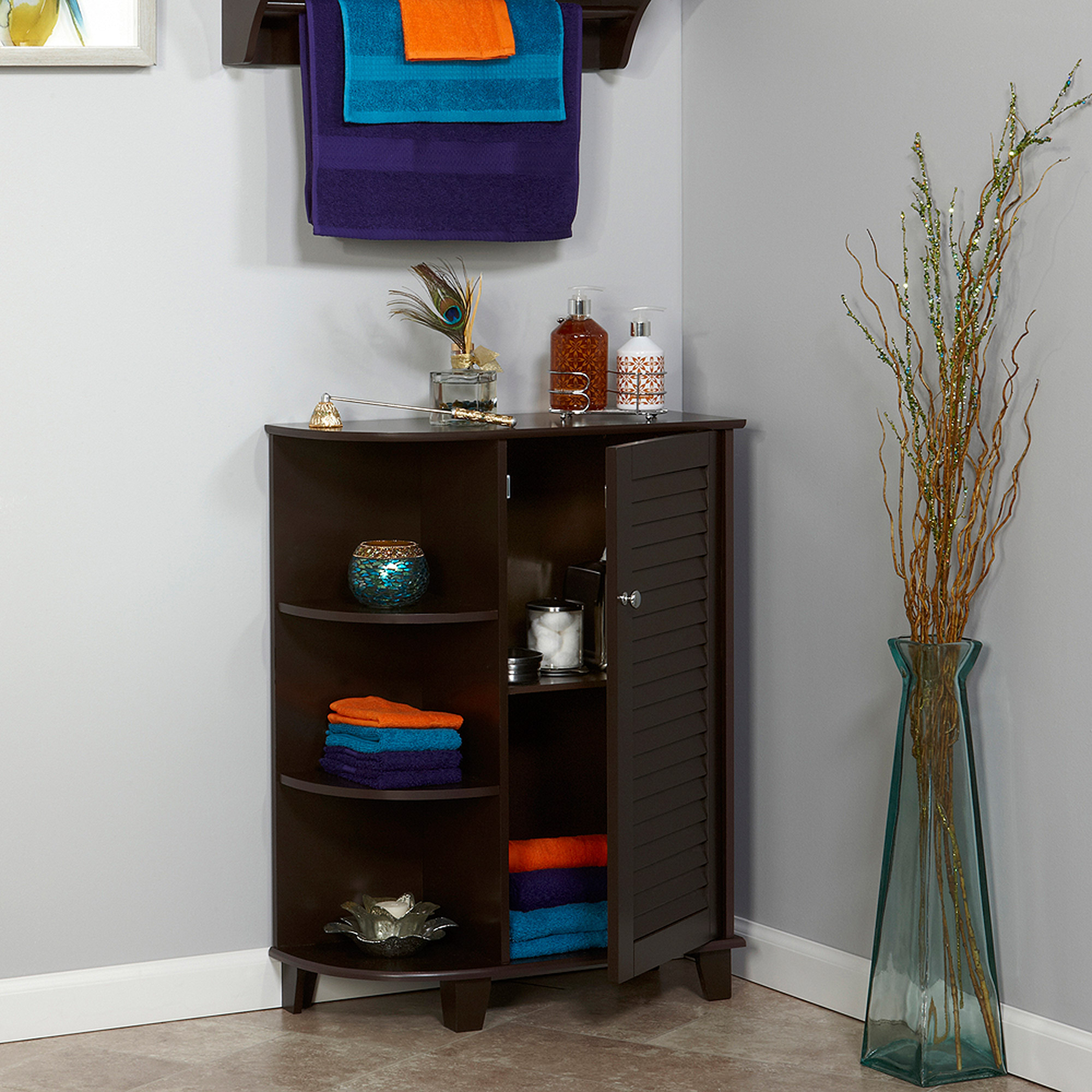 RiverRidge Ellsworth Floor Cabinet with Side Shelves, Espresso