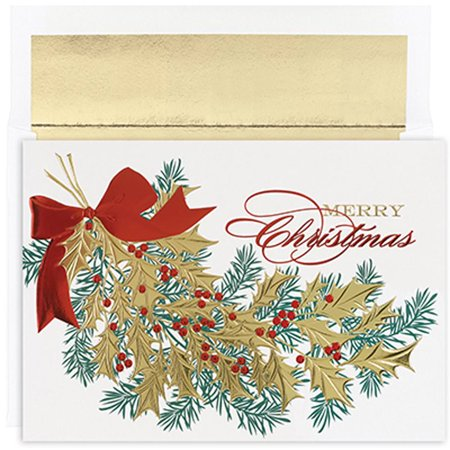 jam paper christmas card sets christmas holly card pack 16pack - Christmas Card Packs