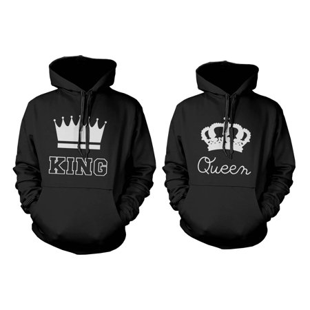 King and Queen Crown Couple Hoodies Cute Matching Outfit for Couples - King And Queen Outfits