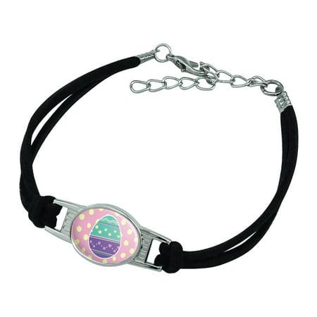 Cute Easter Egg Turquoise Purple Polka Dots Novelty Suede Leather Metal Bracelet 3 Polka Dot Bracelets