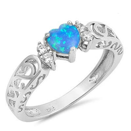 Sterling Silver Blue Synthetic Opal CZ Heart Filigree Swirl Ring Size 7 Blue Opal Sterling Ring