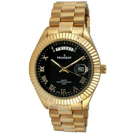 Men's '14K All Plated Day Date Roman Numeral Big Black Face Fluted Bezel Luxury' Quartz Metal and Stainless Steel Dress Watch, Color:Gold-Toned (Model: - Face Bezel
