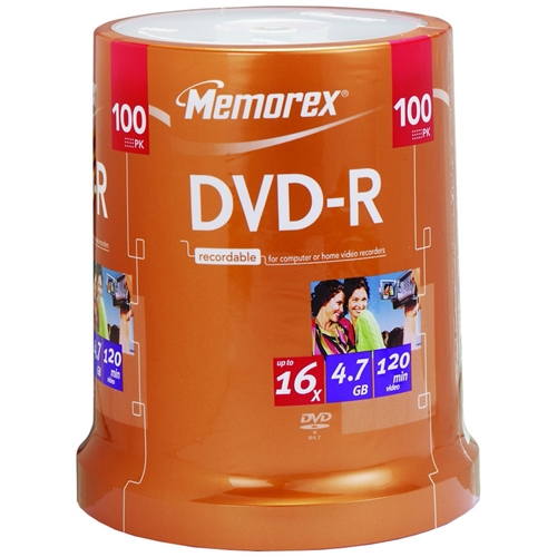 Memorex 16x DVD-R Media - 4.7GB - 120mm Standard - 100 Pack Spindle