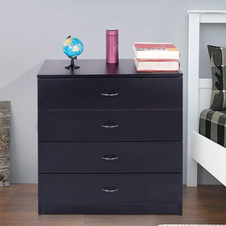Ktaxon 4 Drawers Dresser Bedside Nightstand Cabinets Bedroom Furniture,Chest of Drawer, Black ()