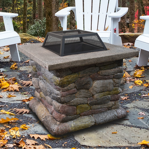 "30"" Outdoor Firepit with Cast Stone by Astella"