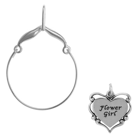 Sterling Silver Flower Girl Heart Charm on a Curved Style Charm Holder