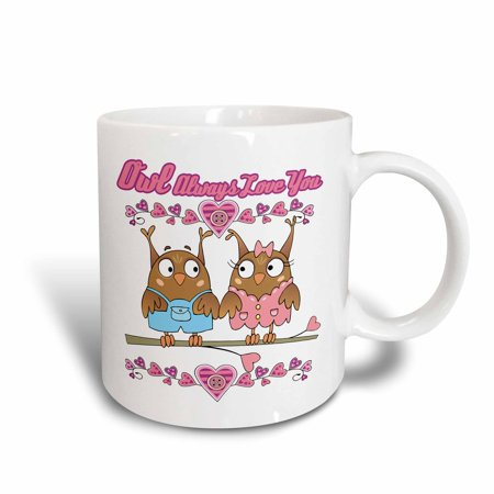 3dRose Owl Ill Always Love You Cute Valentine Owl Couple, Ceramic Mug, - Cute Coiples