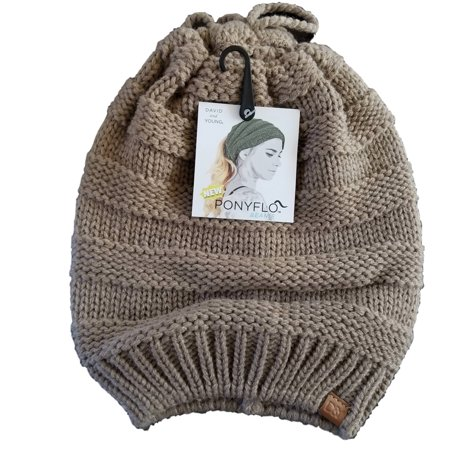 David   Young - David   Young Knit Beanie Hat With Open Top For Ponytail bc3842ed68a