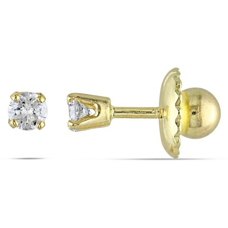 Cutie Pie Diamond-Accent 14kt Yellow Gold Girls' Screwback Stud - Cutie Pie Shoes