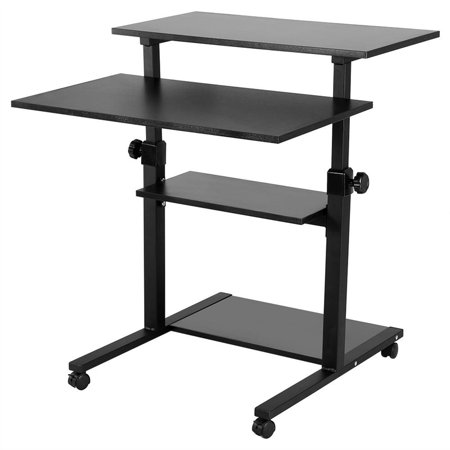 Computer Laptop Book Storage Desk Table - 4 Layers Shelf Rolling Wheel Design Portable Height Adjustable Rolling Presentation Cart - Durable Home/Office Stand Up Desk, Black/Wood Color Optional