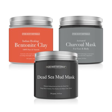 Premium Face Mask Collection, Dead Sea Mud/ Charcoal Creme/ Bentonite Clay, 8.8 (Active Mud Face)