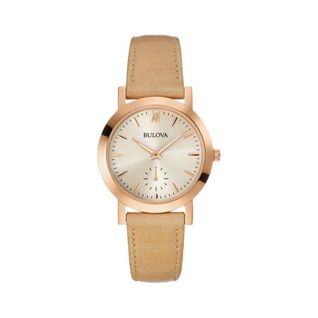 Bulova Women's Beige Leather Quartz Watch 97L146