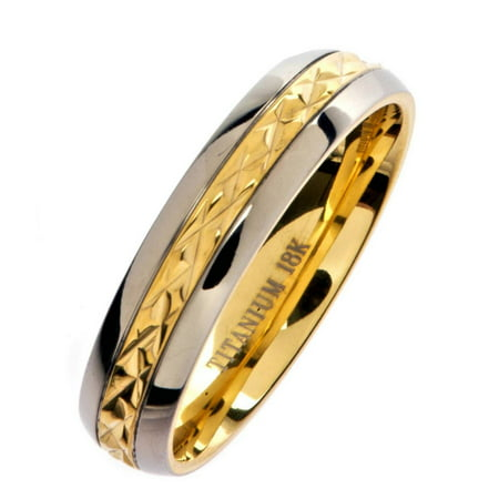 5mm 18K Gold Plated Wedding Ring Grade 5 Titanium Band Comfort Fit