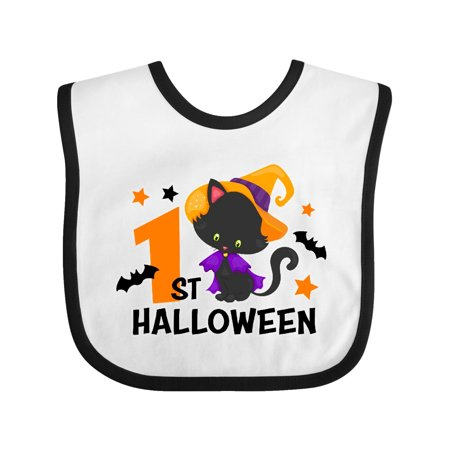 1st Halloween with Cat and Bats Baby Bib White/Black One Size - Babys First Halloween