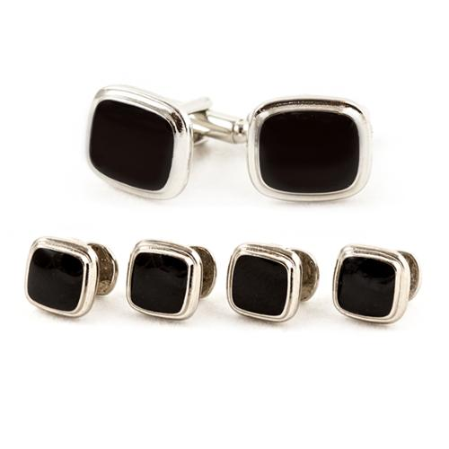 Cuff Daddy Black/ Silvertone Cuff Links