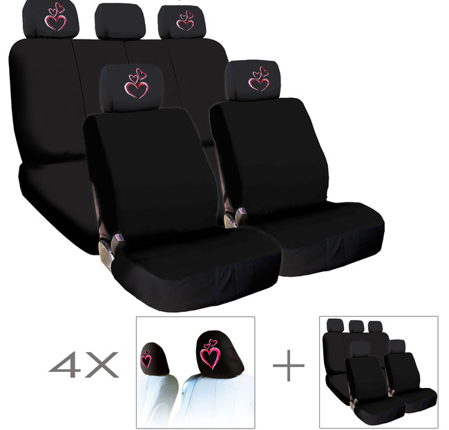 New Bundled 4X Large Pink Heart Logo Car Seat Headrest Covers And Seat Covers Accessory Universal Fit Shipping Included