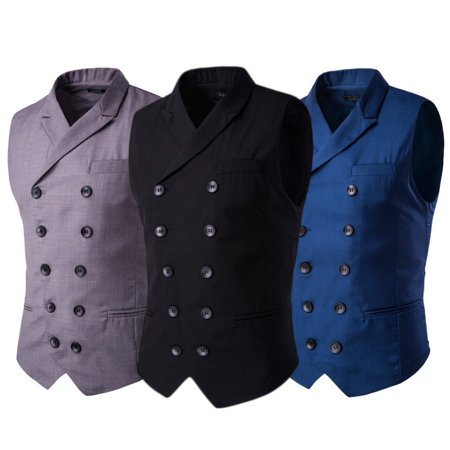 DYMADE Men's Double Breasted Slim Fit Suit Vest Step Collar Business - Kids Slim Fit Suits