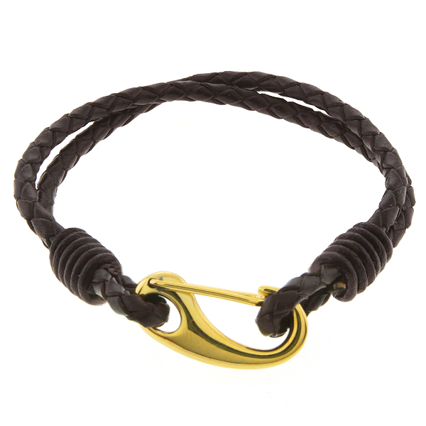 """Men's 8"""" Dark Brown Leather Bracelet With Gold Color Stainless Steel Clasp"""