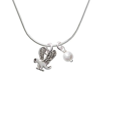 Small Eagle - Mascot - Imitation Pearl Bicone Crystal Necklace