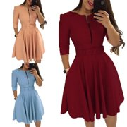 Women Solid Color Half Sleeve Ruffle Party Dress Summer Elegant Casual Zipper Dresses with Belt