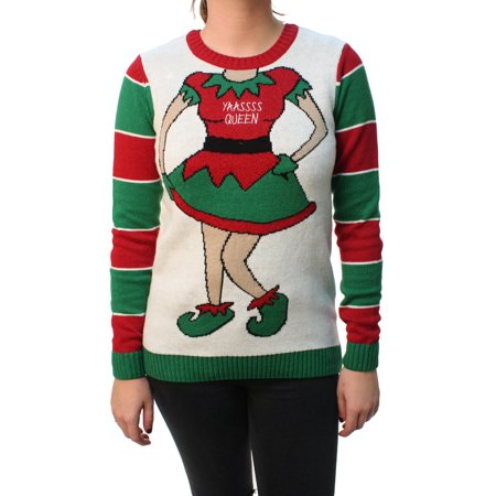 Ugly Christmas Sweater Women's Yaass Queen Elf Pullover - Ugly Elf Sweater