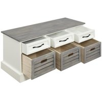 Coaster Storage Bench in White and Weathered Gray