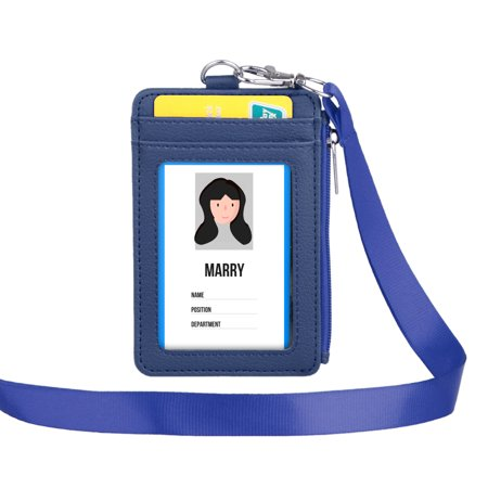 Leather Badge Holder with Zipper and Lanyard, Office ID Badge Card Holder Wallet with 5 Card Slots for Offices ID School ID Driver Licence - Lanyard With Badge Holder
