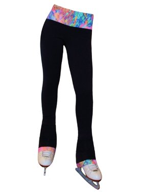 Ice Fire Skating Big Girls Black Neon Lights Venetta Fit Pants