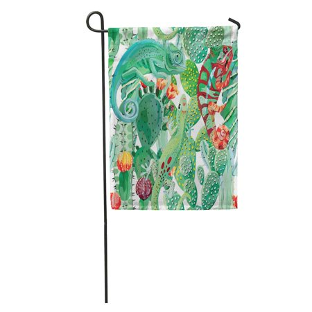JSDART Green Pattern Chameleon and Cactus Flower Exotic Jungle Wild Garden Flag Decorative Flag House Banner 28x40 inch - image 1 of 2