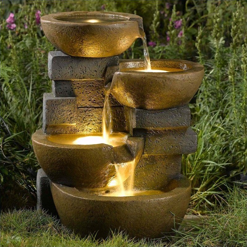 Jeco Pots Water Fountain with Led Light by Jeco