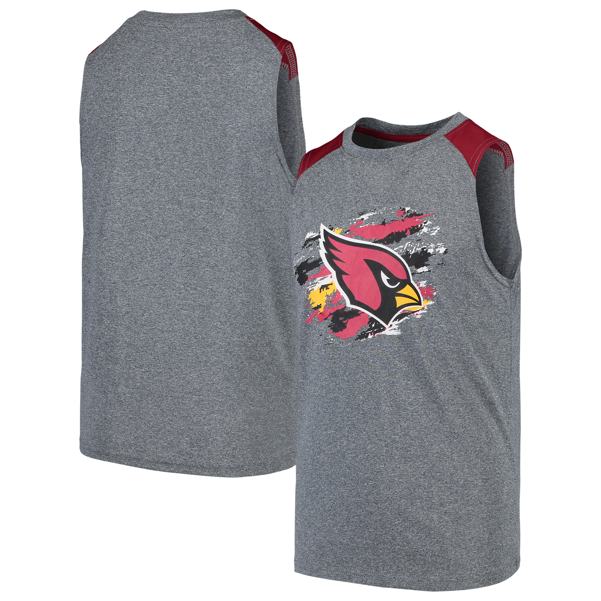 Arizona Cardinals NFL Pro Line by Fanatics Branded Youth True Colors Sleeveless T-Shirt - Heathered Gray