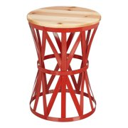 Mainstays Forset 18 Red Metal Garden Stool With Wood Top Image 1