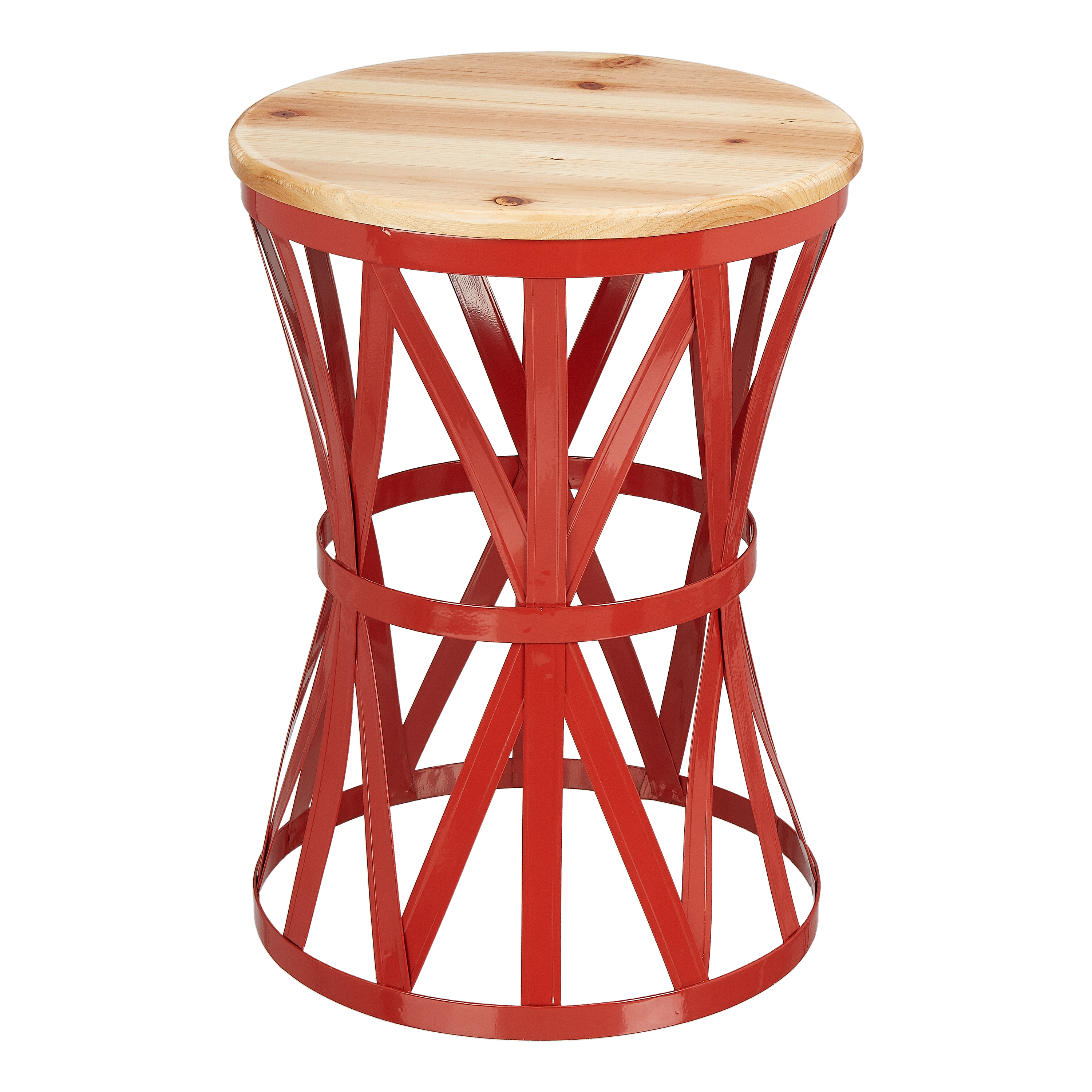 """Mainstays Forset 18"""" Red Metal Garden Stool with Wood Top"""