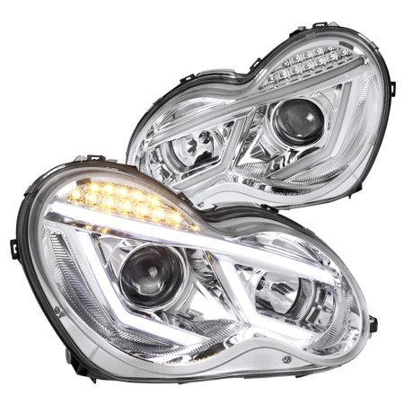 Spec-D Tuning For 2001-2007 Mercedes Benz W203 C-Class Led Strip Signal Clear Projector Headlights Pair (Left+Right) 2001 2002 2003 2004 2005 2006 2007 (Mercedes Benz Tuning)