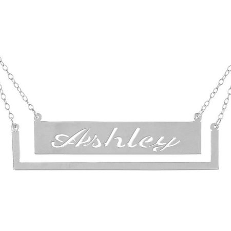- Personalized Handmade Pocket Frame Bar Name Necklace in Sterling Silver or 24K Gold Plated Sterling Silver