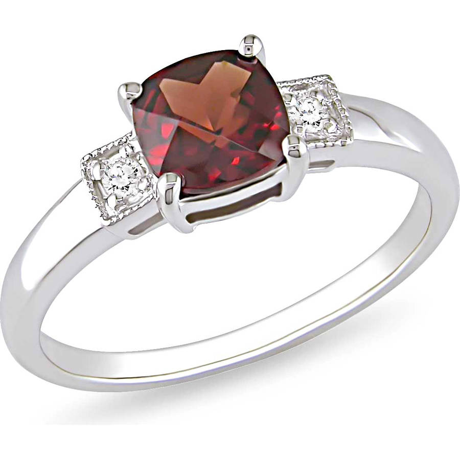 Tangelo 1-1/3 Carat T.G.W. Cushion-Cut Garnet and Diamond-Accent Sterling Silver Three Stone Ring